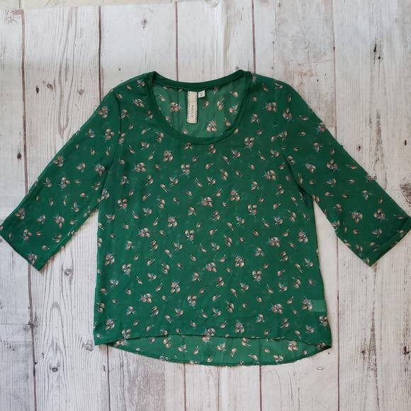 Robin K Tops - Green Semi Sheer Bird Blouse